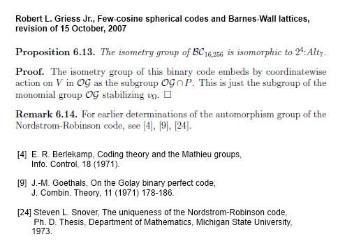 IMAGE- Robert L. Griess Jr. on the automorphism group of the 256-word Nordstrom-Robinson code