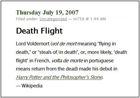 IMAGE- A post on the meaning of 'Voldemort'