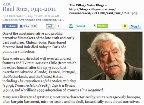 IMAGE- Chilean filmmaker Raul Ruiz died Friday, Aug. 19, 2011.  Known for 'convoluted narratives.'
