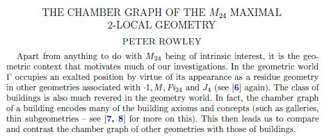 IMAGE- Paragraph from Peter Rowley on M24 2-local geometry