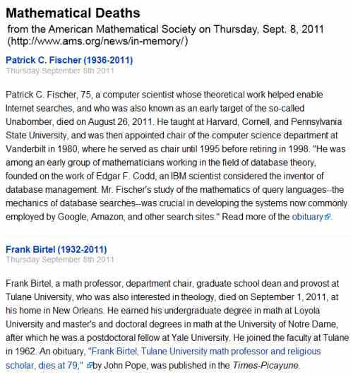 IMAGE- American Mathematical Society obituaries for Patrick C. Fischer and Frank Birtel published Sept. 8, 2011
