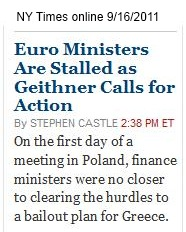 IMAGE- 'Euro Ministers Are Stalled as Geithner Calls for Action'