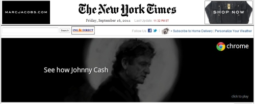 IMAGE- Banner ad with thejohnnycashproject.com run all day Sept. 16, 2011, at NY Times