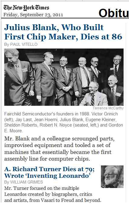 IMAGE- NY Times obits for Julius Blank and A. Richard Turner