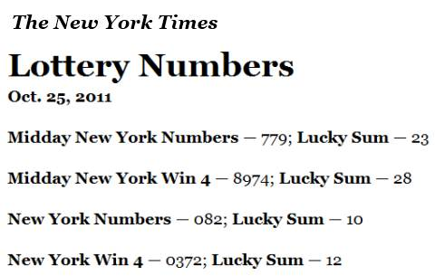 New York Lottery, October 25, 2011, as reported by The New York Times