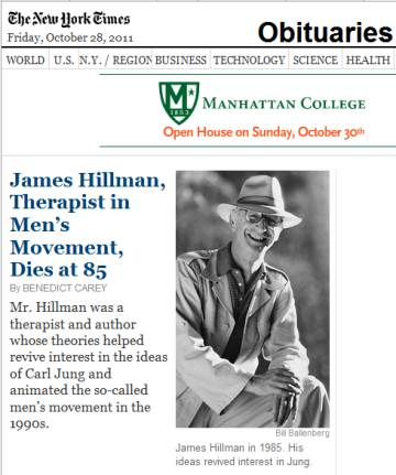 James Hillman, NYT obituary on Feast of St. Jude, 2011