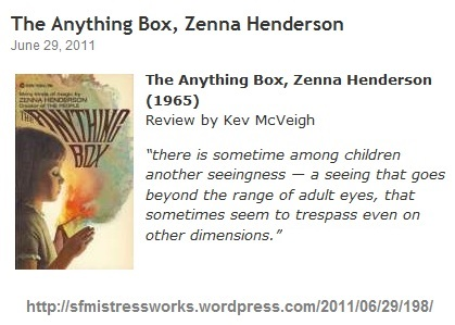 IMAGE- June 29, 2011, review of Zenna Henderson's 'The Anything Box'