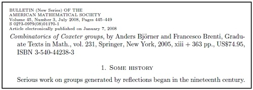 IMAGE- 'Serious work on groups generated by reflections,' Springer GTM 231