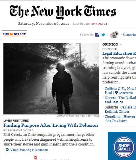 IMAGE- 'Finding Purpose After Living With Delusion'- NYT front page