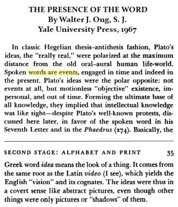Walter J. Ong, S.J., on words vs. ideas