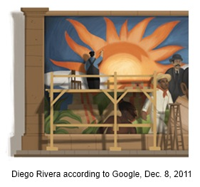 IMAGE- Google Doodle of an imagined Diego Rivera painting the sun in a mural