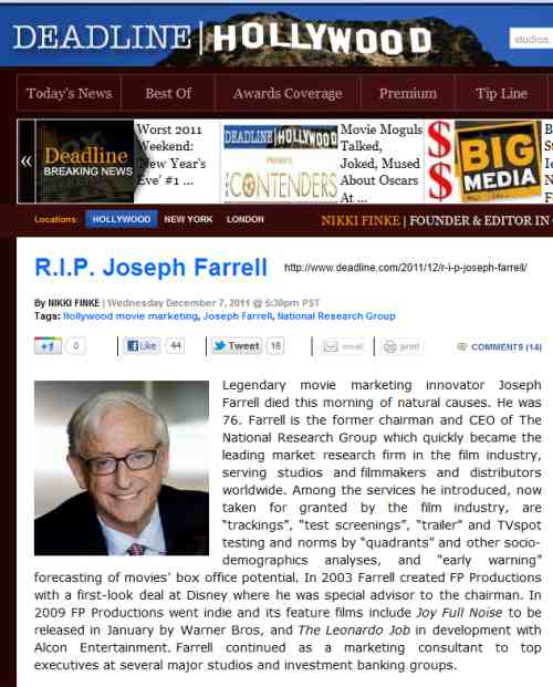 IMAGE- R.I.P. Joseph Farrell at Deadline Hollywood