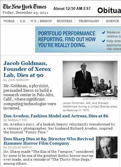 IMAGE- NYT obits: Jacob Goldman, Doe Avedon, Don Sharp