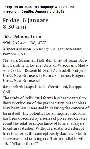 IMAGE- MLA session, 'Defining Form,' chaired by Colleen Rosenfeld of Pomona College