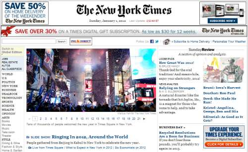 IMAGE- NY Times online front page, New Year's Day 2012
