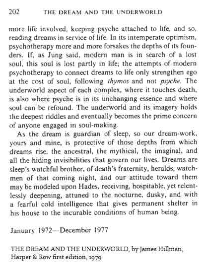 IMAGE- Conclusion of Hillman's 'The Dream and the Underworld'