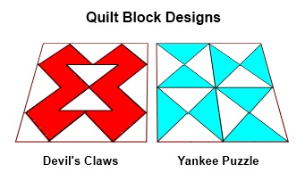 IMAGE- Quilt blocks- Devil's Claws and Yankee Puzzle