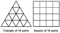 IMAGE- Triangle and square, each with 16 parts