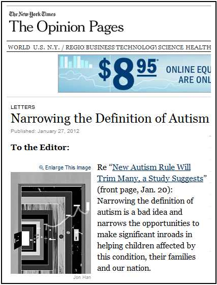 IMAGE- NY Times on 'Narrowing the Definition of Autism'