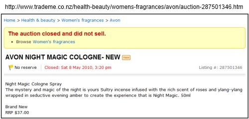 IMAGE- Online offer of Avon Night Magic Cologne- 'The mystery and magic of the night is yours.'