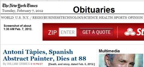 IMAGE- Top of NY Times obits page, morning of Feb. 7th, 2012, with ad saying ZIP [ENTER] GET A QUOTE