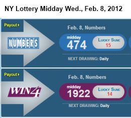 IMAGE- NY lottery midday Wed., Feb. 8, 2012- 474, 1922
