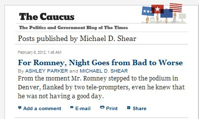 IMAGE- NY Times: 'For Romney, Night Goes from Bad to Worse,' by Ashley Parker and Michael D. Shear