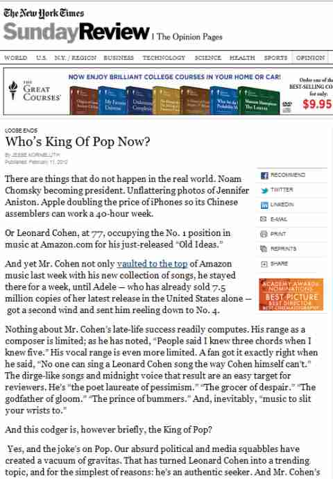 IMAGE- NY Times Sunday Review- 'The Great Courses' ad and 'Who's King Of Pop Now?'