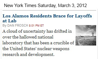 IMAGE- NY Times online front page item referring to Los Alamos as 'hallowed' and a 'crucible'