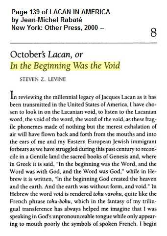 IMAGE- Steven Z. Levine, first page of 'In the Beginning Was the Void'