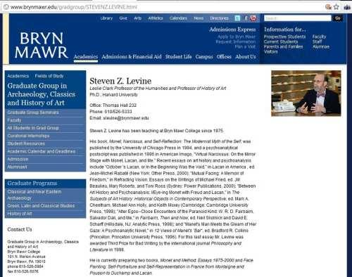IMAGE-Bryn Mawr home page of Professor Steven Z. Levine