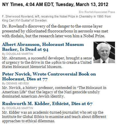 IMAGE- From the 3/13 NY Times obituaries- Albert Abramson, Holocaust Museum backer, with other deaths