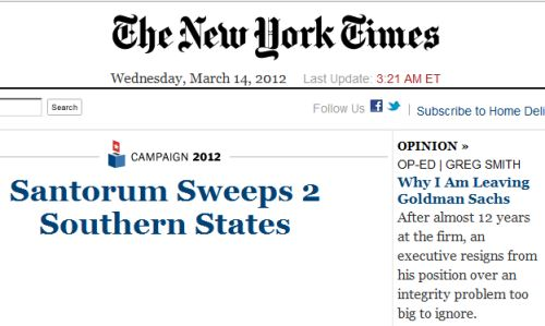 IMAGE- Leaving Goldman Sachs (NY Times online front page)