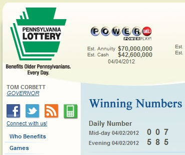 Penna Lottery Daily Numbers