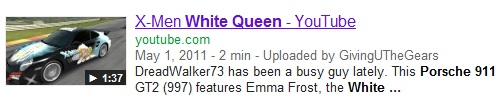 IMAGE- Porsche racecar decorated with the White Queen, Emma Frost of X-Men