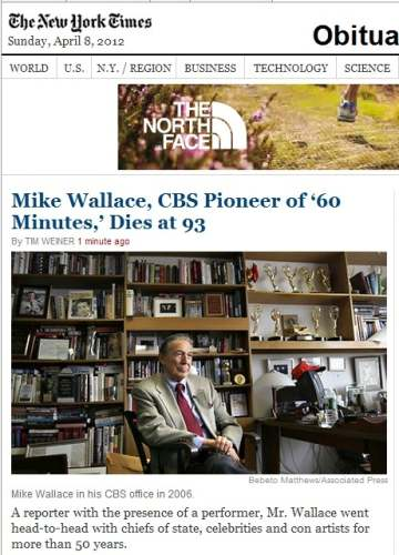 IMAGE- Mike Wallace NY Times obit with North Face shoe ad