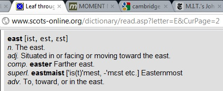 IMAGE- Scots dictionary- 'farther east' is 'easter.'