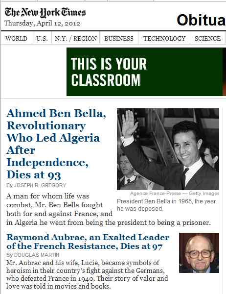 IMAGE- NY Times obituaries, 3 AM EDT Thursday, April 12, 2012. The ad 'THIS IS YOUR CLASSROOM' is from Wagner College.