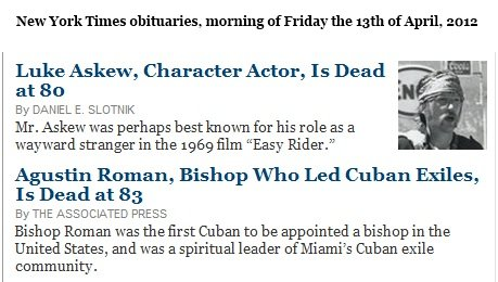 IMAGE- NY Times obits- Actor Luke Askew, Bishop Agustin Roman