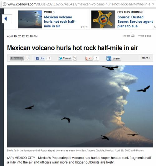 IMAGE- 'Mexican volcano hurls hot rock half-mile in air'