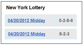 IMAGE- The NY lottery results for midday April 20, 2012, were 0286 and 823.