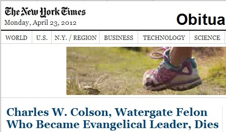 IMAGE- April 23, 2012, NY Times obit for Charles Colson with foot from ad for 'The North Face' running shoes