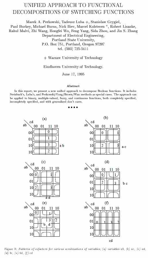 IMAGE- Excerpt from 'Unified Approach to Functional Decompositions of Switching Functions,' by Marek A. Perkowski et al., 1995