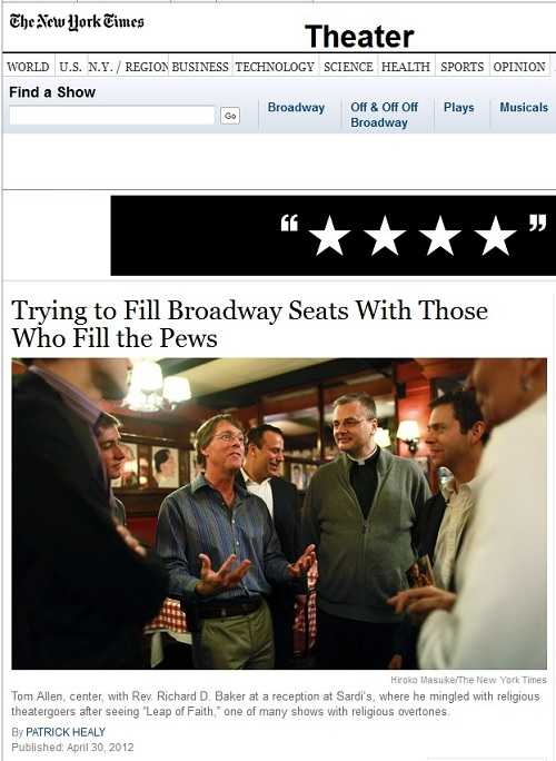 IMAGE- May Day 2012 - Front page NY Times piece on religiously oriented theater