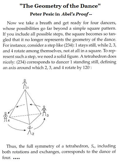 IMAGE- 'The geometry of the dance' is that of a tetrahedron, according to Peter Pesic