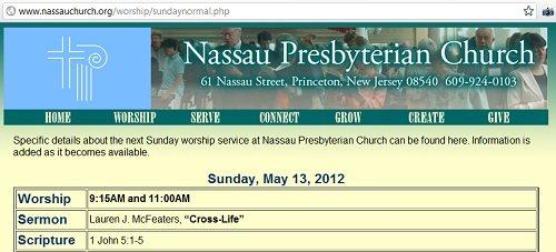 IMAGE- Nassau Presbyterian scripture for May 13, 2012- 1 John 5:1-5.