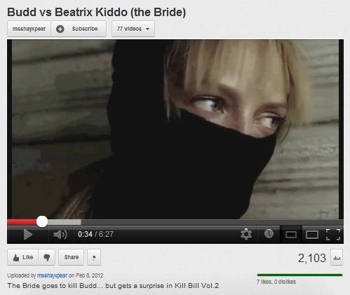 IMAGE- Beatrix Kiddo ('the Bride') watches Budd's trailer