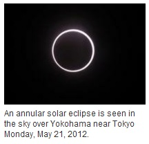 IMAGE- Annular solar eclipse as seen in Yokohama on May 21, 2012