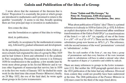 IMAGE- Peter M. Neumann, 'Galois and His Groups,' EMS Newsletter, Dec. 2011