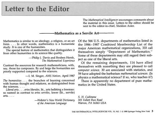 IMAGE- Letter to the editor, Mathematical Intelligencer, Vol. 10 No. 1, 1988